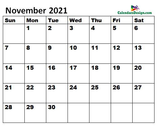 November 2021 Calendar letter