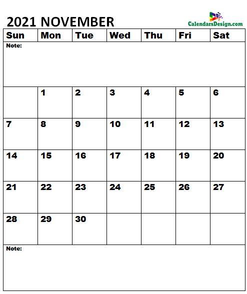 November 2021 Calendar notes