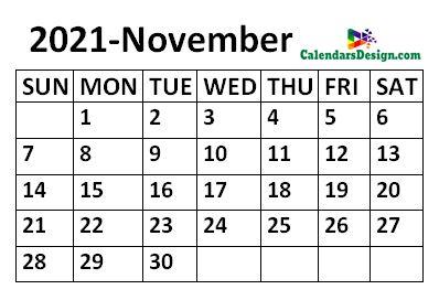 November 2021 Calendar small size