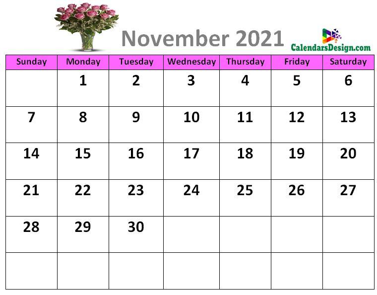 November 2021 calendar designs