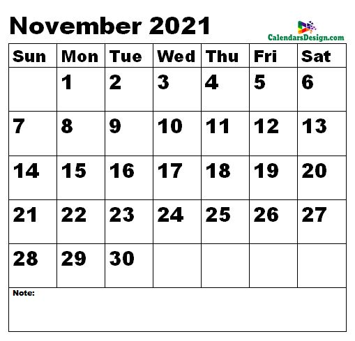 November 2021 calendar large size