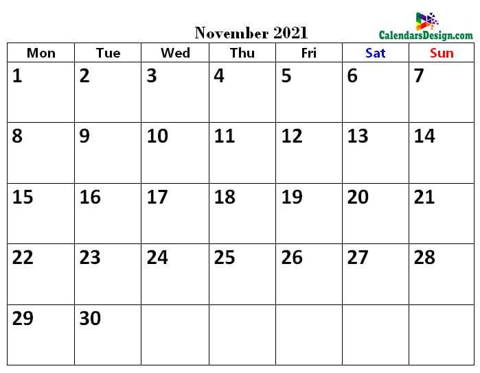 November 2021 calendar pdf download