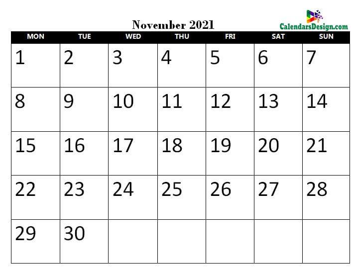 November 2021 calendar pdf to print