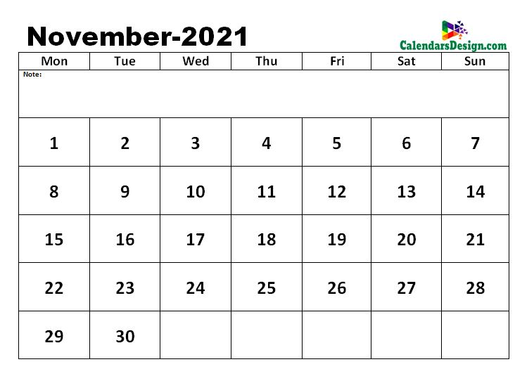 November 2021 excel calendar template