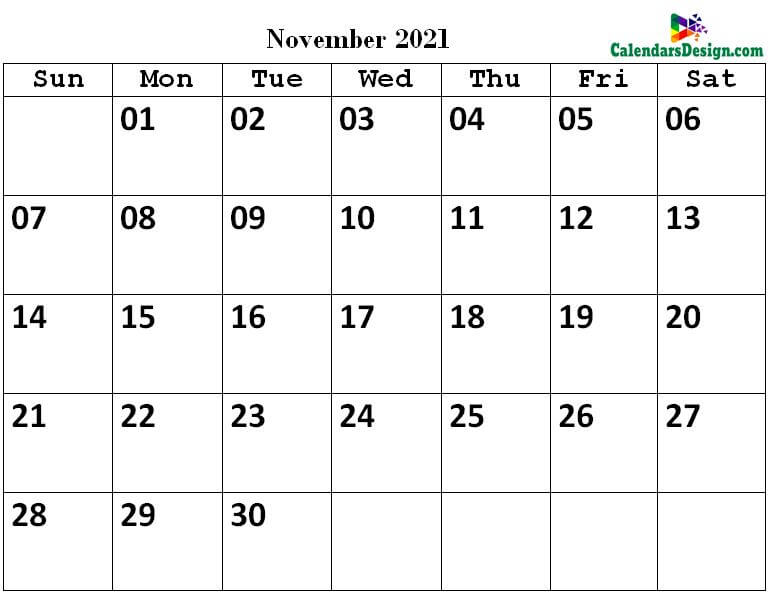 November Calendar 2021 PDF