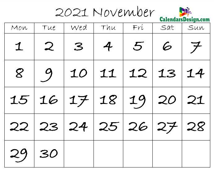 November Calendar 2021 in Excel Format