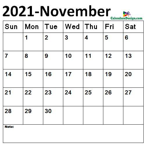 November calendar 2021 sizes