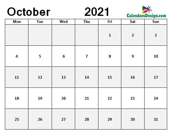Oct 2021 blank calendar