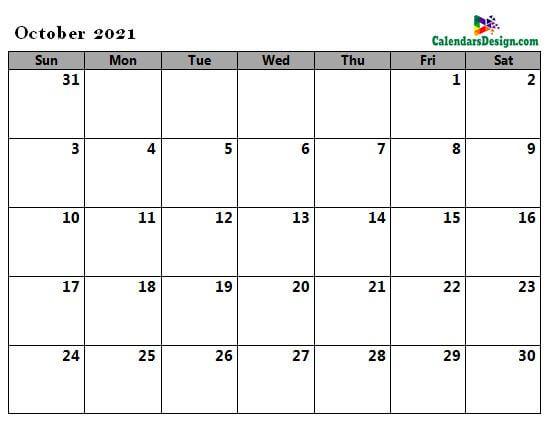 Oct 2021 calendar word doc