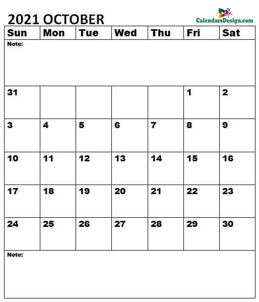 October 2021 Calendar A4 Size