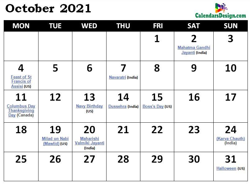 October 2021 Calendar Australia With Holidays