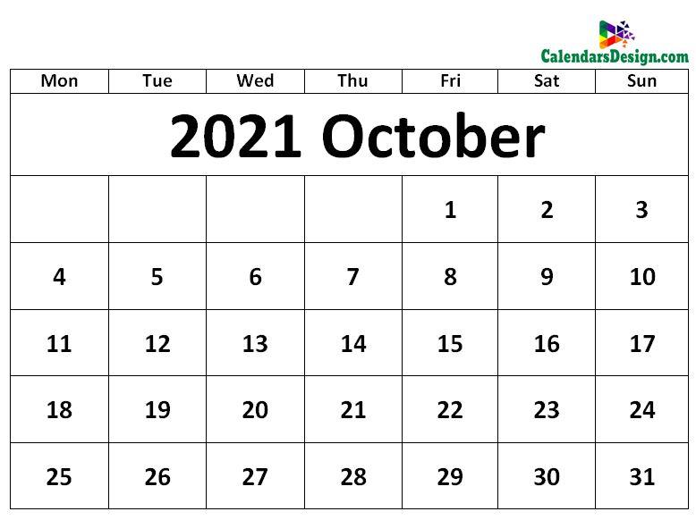 October 2021 Calendar Excel