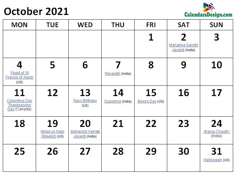 October 2021 Calendar Holidays