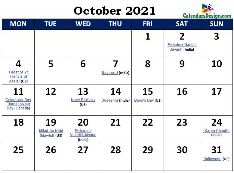October 2021 Calendar India With Holidays