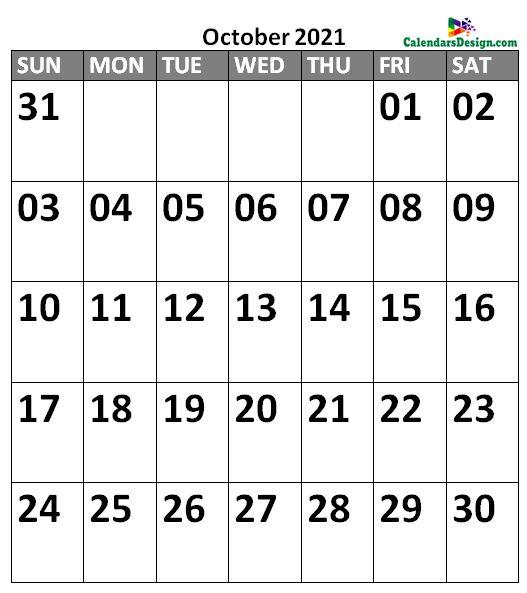 October 2021 Calendar Landscape