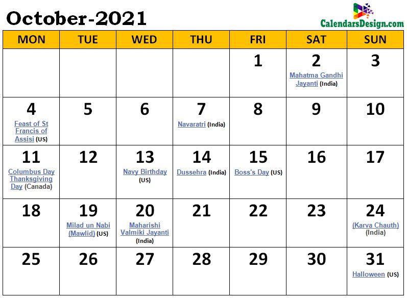 October 2021 Calendar Malaysia with Holidays