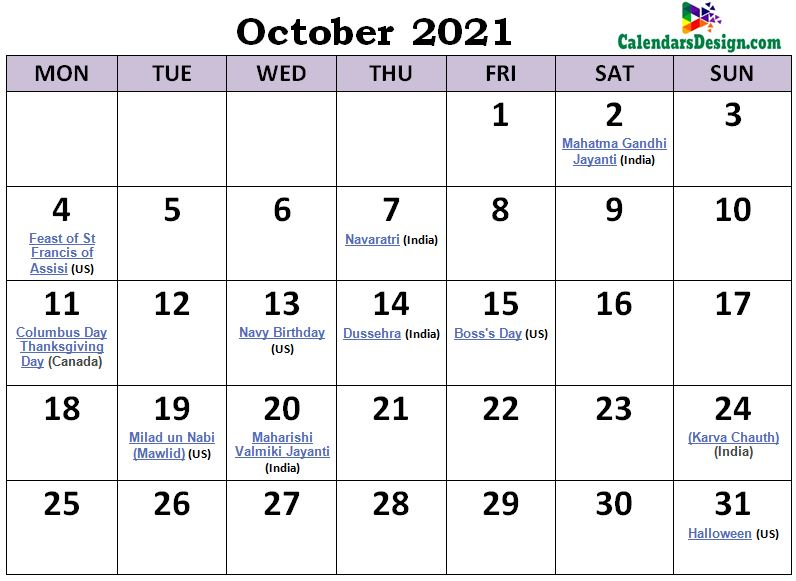 October 2021 Calendar Philippines with Holidays