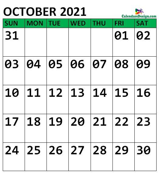 October 2021 Calendar Portrait