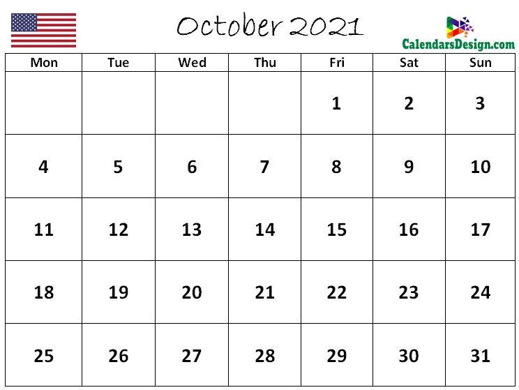 October 2021 Calendar US