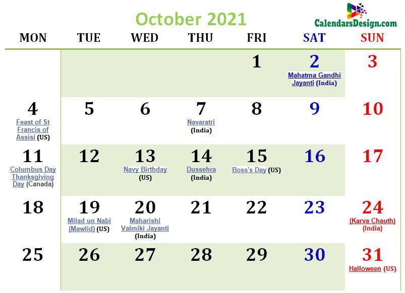 October 2021 Calendar USA With Holidays