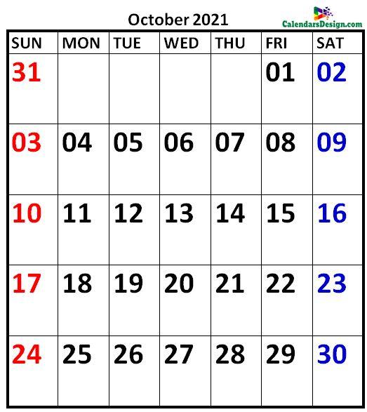October 2021 Calendar Vertical