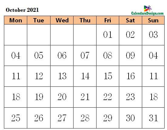 October 2021 Calendar Word Doc