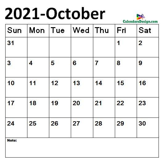 October 2021 Calendar doc