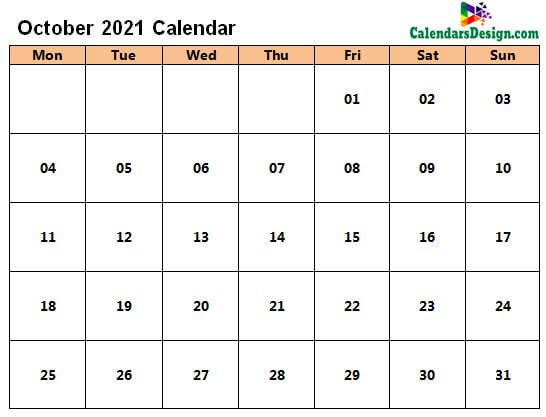 October 2021 Calendar in Page