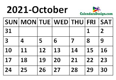 October 2021 Calendar small size
