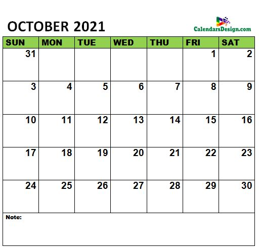 October 2021 Calendar vertex