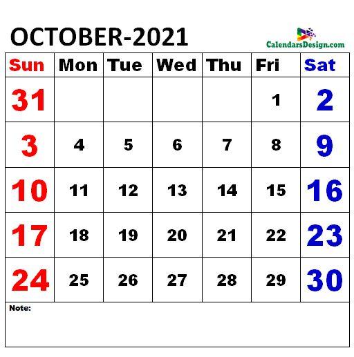 October 2021 Calendar xls