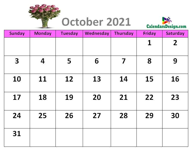 October 2021 calendar designs