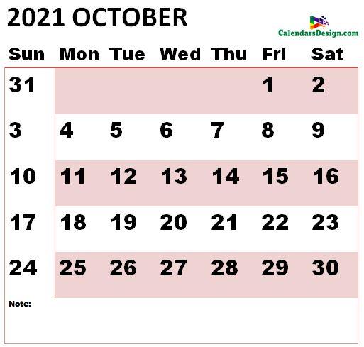 October 2021 calendar large size