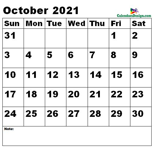 October 2021 calendar medium size