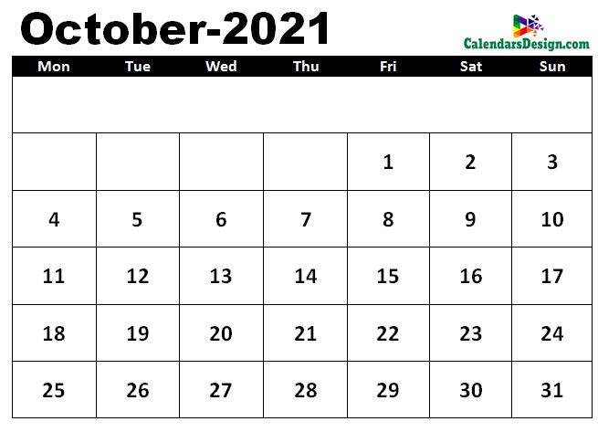 October 2021 calendar template in excel