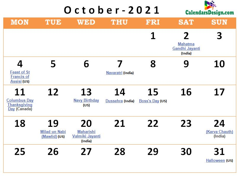 October 2021 calendar usa with holidays all countries