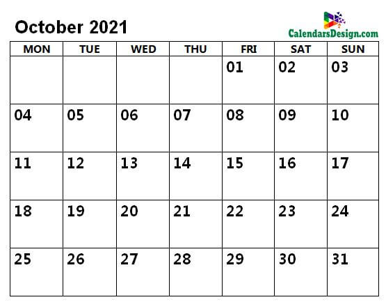 October 2021 calendar with large space