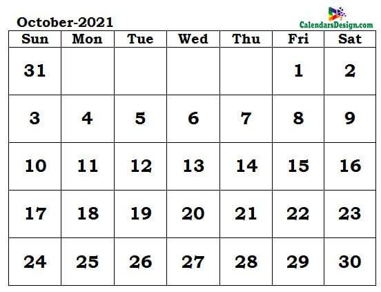 October 2021 calendar word format
