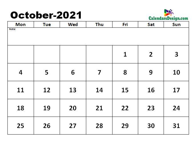 October 2021 excel calendar template
