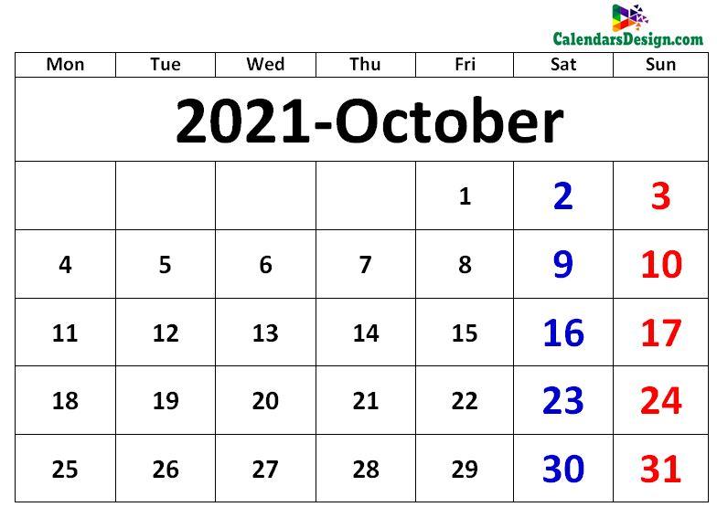 October 2021 excel calendar