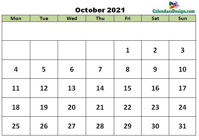 October 2021 excel template