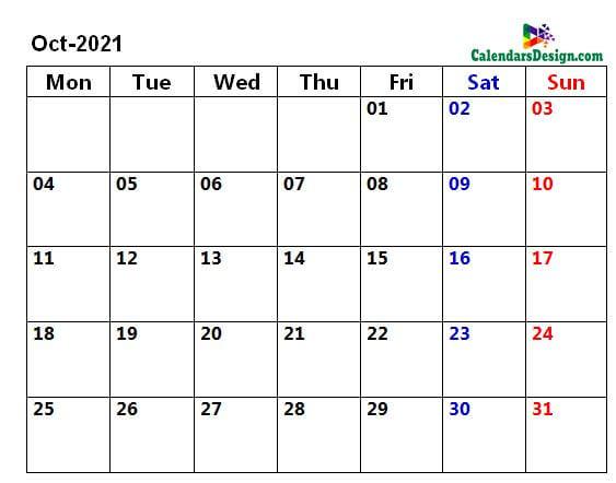 October 2021 page calendar