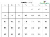 October Calendar 2021 PDF