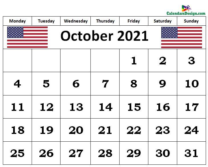 October 2021 us calendar