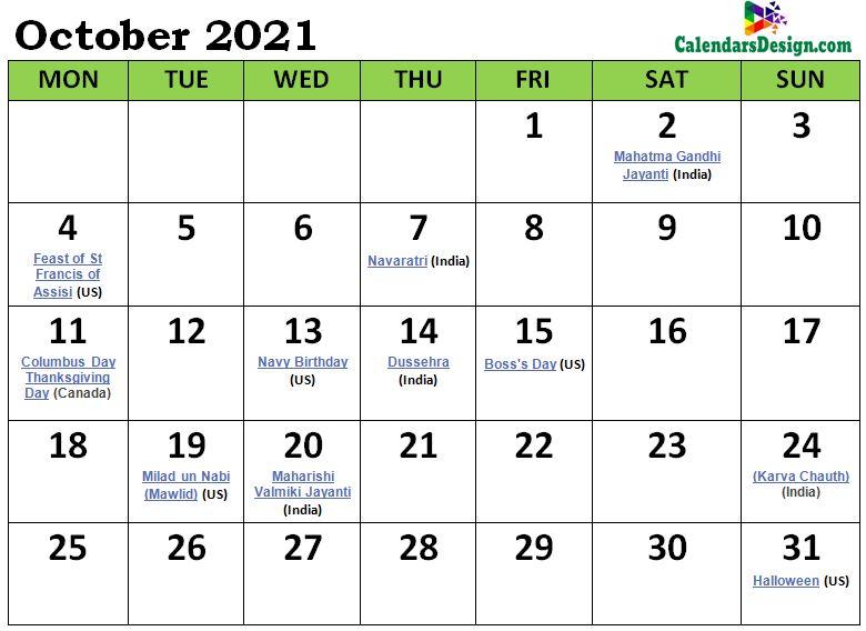 October Calendar 2021 India with Festivals