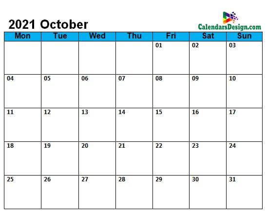 October Calendar 2021 Page