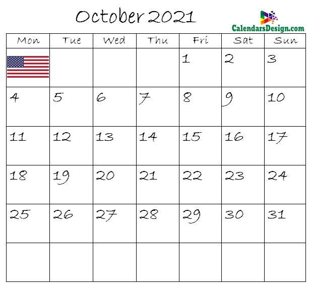 October Calendar 2021 USA With Holidays