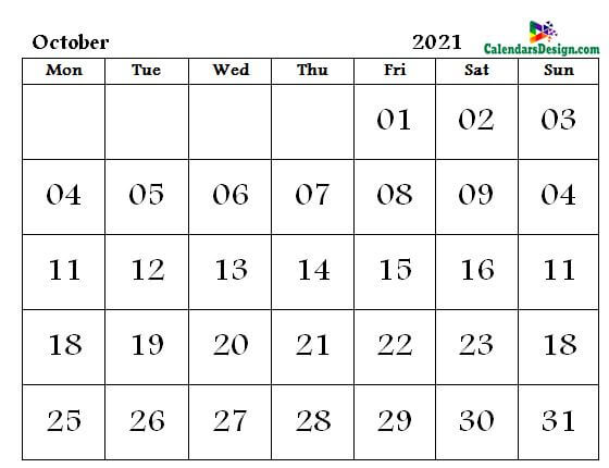 October Calendar 2021 Word Format