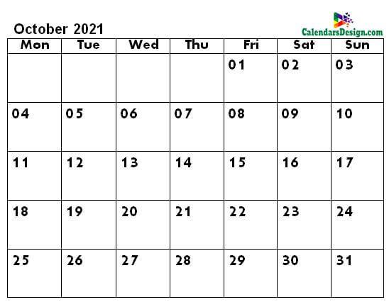 October calendar 2021 a4 page