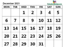 Print December 2021 Calendar in Page Format